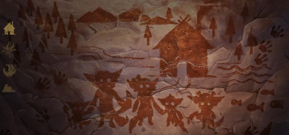 """Algumas """"pinturas rupestres"""" mostrando um possível vilarejo Yordle, um deles com um Boomerang."""