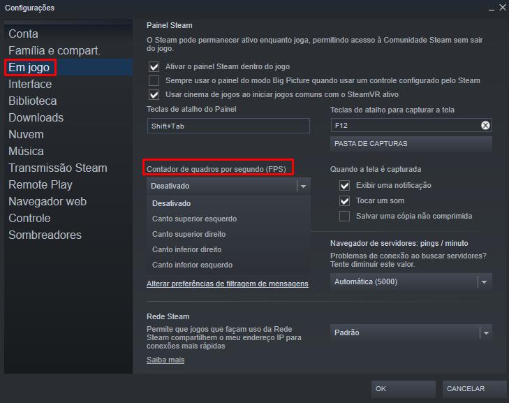 Onde ativar FPS na Steam