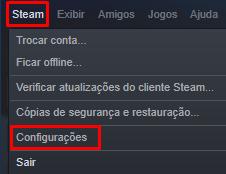 Como abrir as configurações da Steam