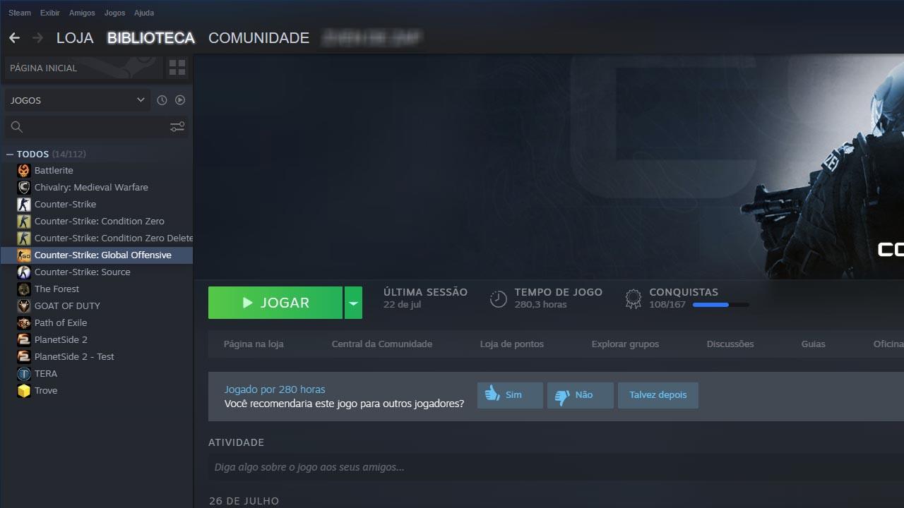Clicando para inicioar o CS:GO na Steam