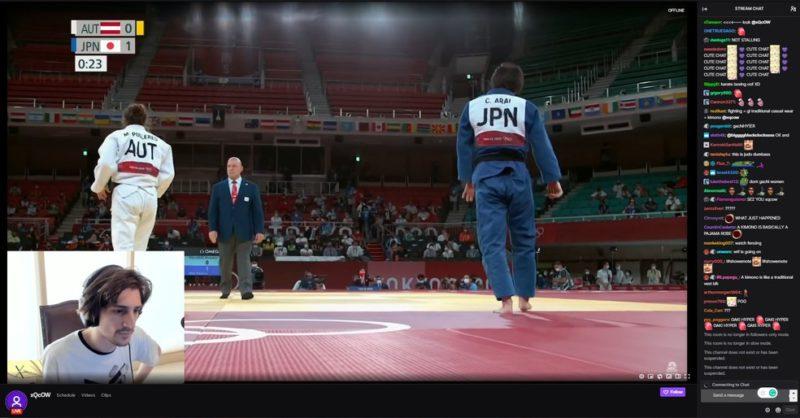 Momento que xQc transmitia as olimpíadas em seu canal da Twitch