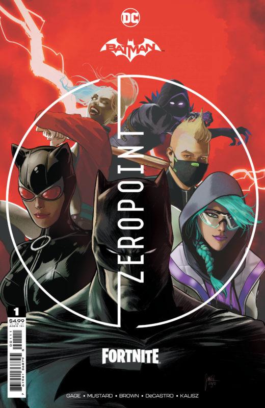 Capa do volume 1 do HQ da DC lançado em parceria com o Fortnite