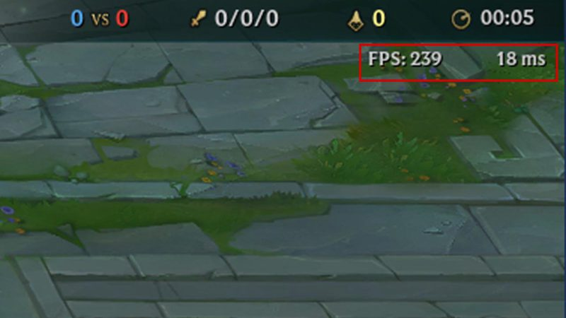 imagem mostrando o FPS no LoL