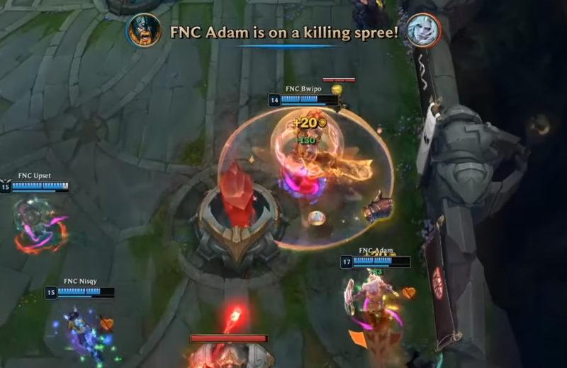 Fnatic Adam jogando de Olaf e matando Wunder.