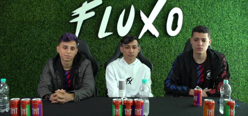 Nobru, Bak e Cerol, integrantes do Fluxo, em coletiva de imprensa