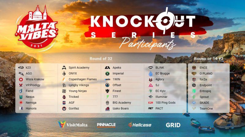 Times participantes da Malta Vibes Knockout Series