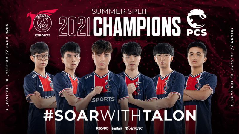 Imagem comemorativa do título do PSG Talon, que venceu a PCS e se classificou para o Worlds 2021