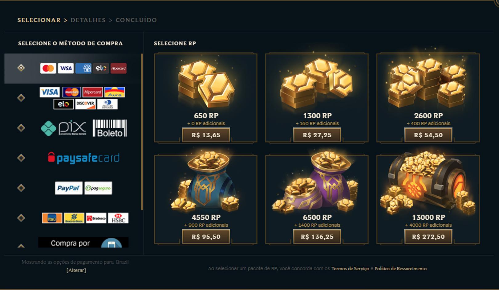 Preço do RP no LoL