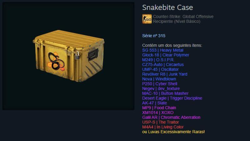 Itens da caixa snakebite no Cs:GO