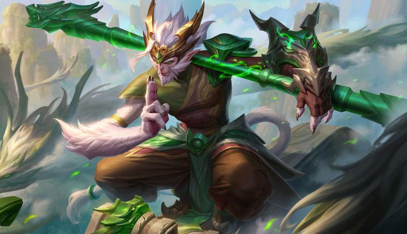 Imagem da skin Wukong Dragão de Jade no Wild rift