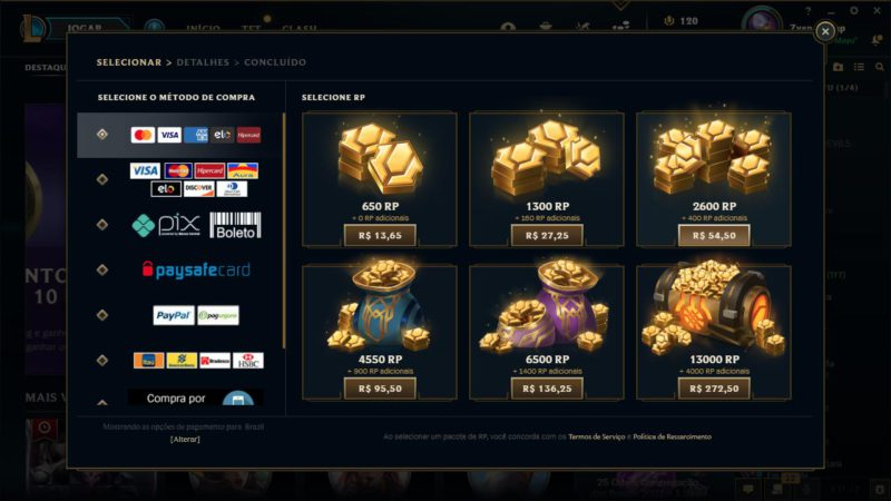 Imagem para ilustrar o tutorial de como comprar RP no LoL