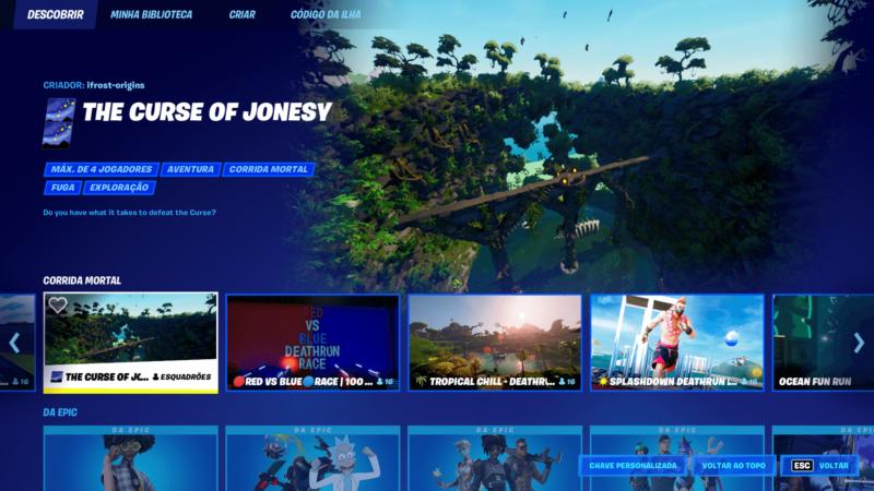 Atualização do menu de Fortnite