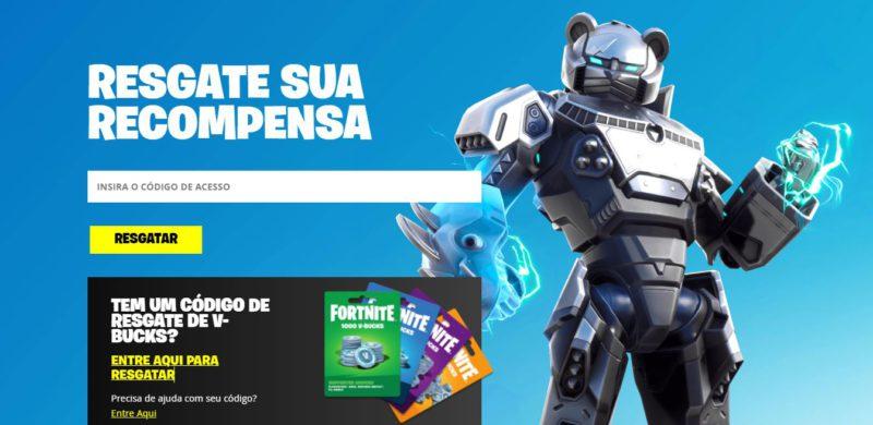Banner para resgatar código no Fortnite