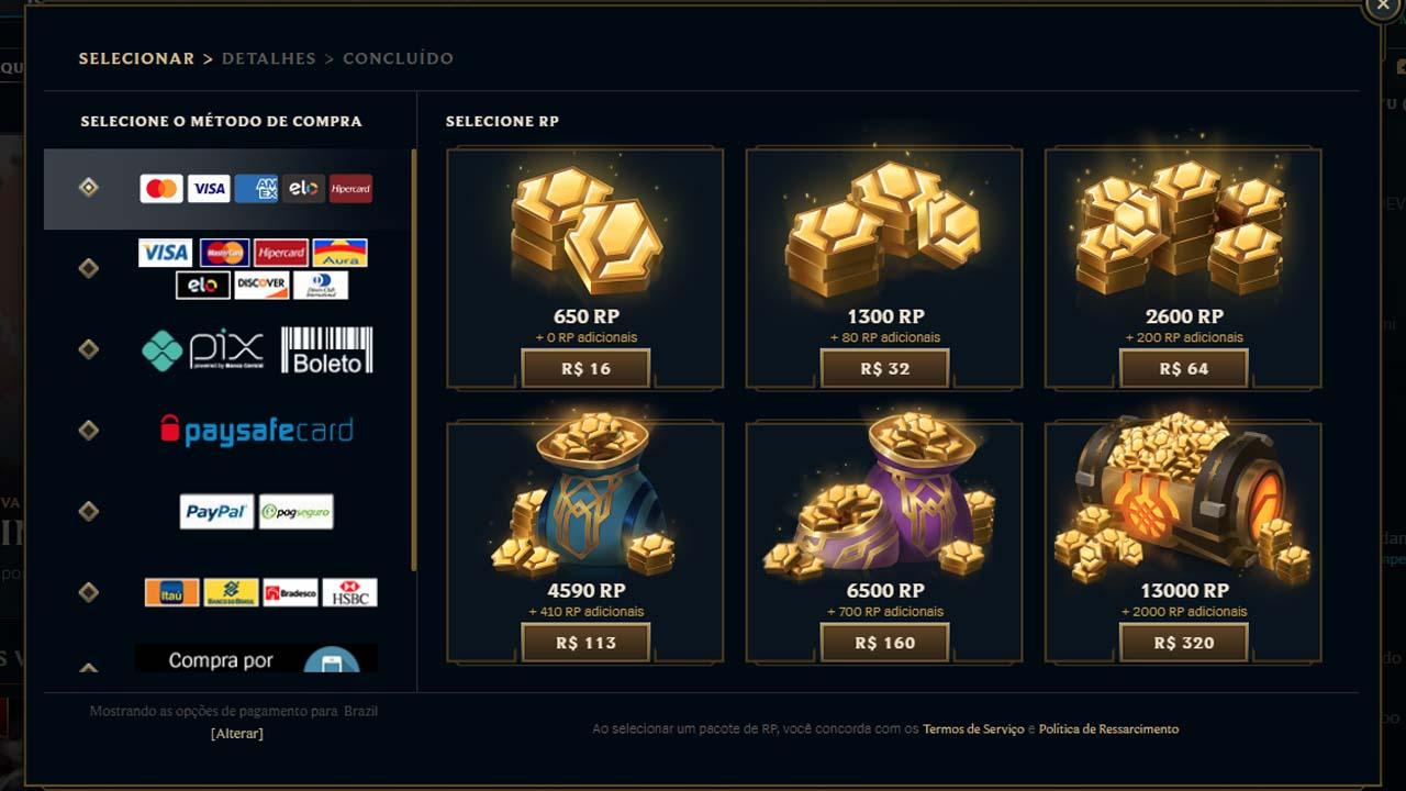 Imagem para ilustrar o preço do RP no LoL