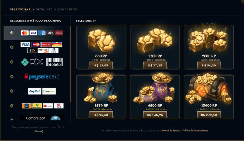 Imagem do preço do RP no LoL