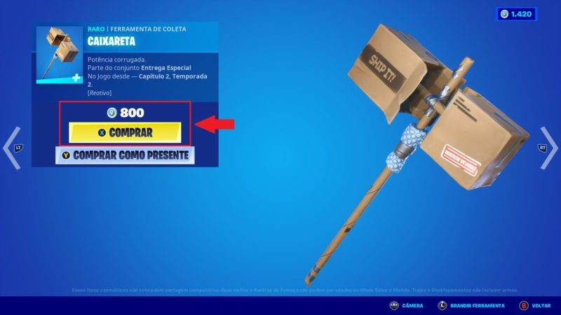 Preço de itens no Fortnite
